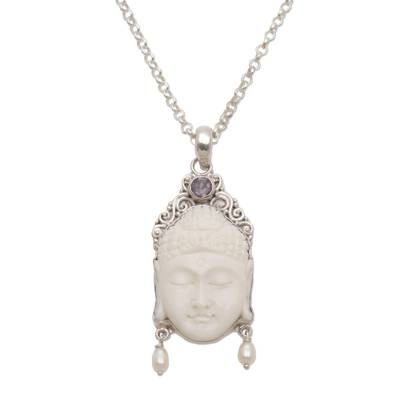 Amethyst and cultured pearl pendant necklace, 'Blessed Buddha' - Amethyst Cultured Pearl and Bone Buddha Pendant Necklace