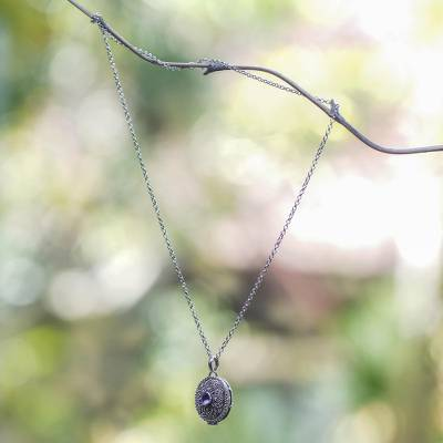 Amethyst locket necklace, 'Floral Secret' - Sterling Silver and Amethyst Locket Necklace on Silk Cord