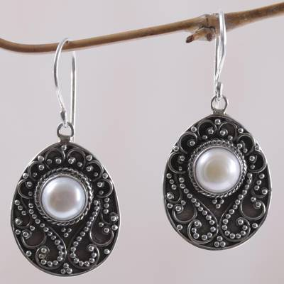 Cultured mabe pearl dangle earrings, 'Moon Curves' - Cultured Mabe Pearl and Sterling Silver Dangle Earrings