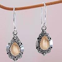 Gold accent sterling silver dangle earrings, 'Secret Spirals' (Indonesia)