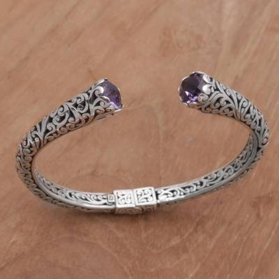 Amethyst cuff bracelet, 'Spiral Engagement' - Amethyst and 925 Sterling Silver Spiral Motif Cuff Bracelet