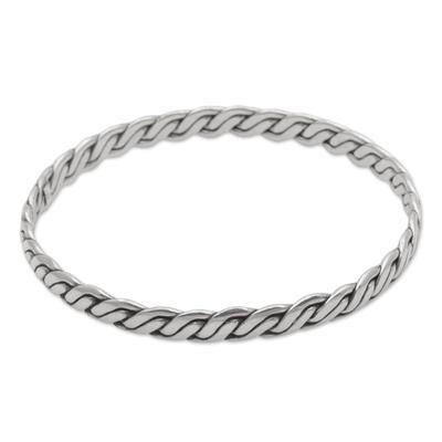 Artisan Crafted Sterling Silver Indonesian Bangle Bracelet