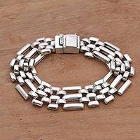 Sterling silver link bracelet, 'Irresistible Poise' - Artisan Crafted Sterling Silver Link Bracelet from Indonesia