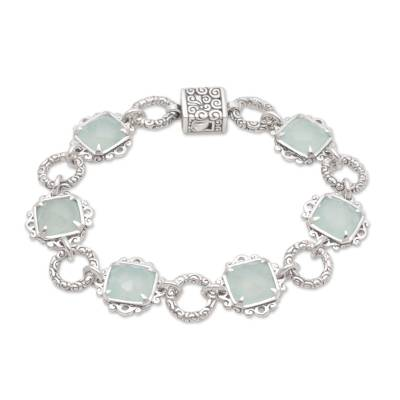 Chalcedony and Sterling Silver Link Bracelet from Bali