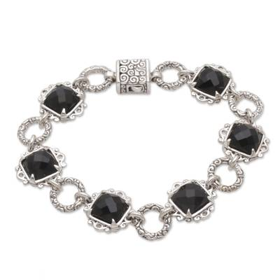 Onyx and Sterling Silver Link Bracelet by Bali Artisans