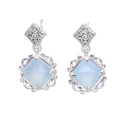 Chalcedony and Sterling Silver Dangle Earrings from Bali