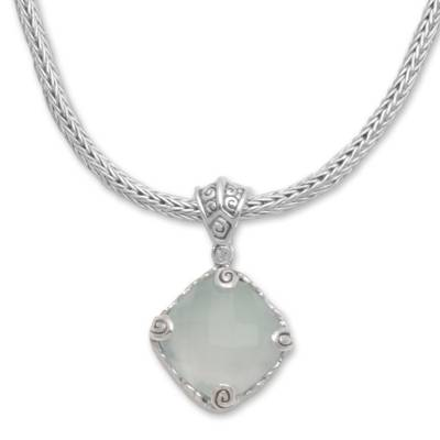 Unique Balinese 925 Sterling Silver and Chalcedony Pendant Necklace