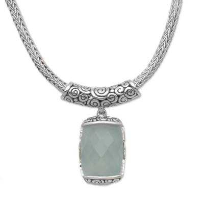 Rectangle Chalcedony and Sterling Silver Necklace from Bali