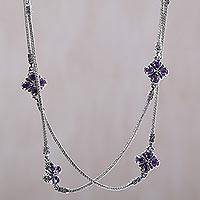 Amethyst long station necklace, 'Purple Primrose' - Amethyst and Sterling Silver Long Necklace from Bali