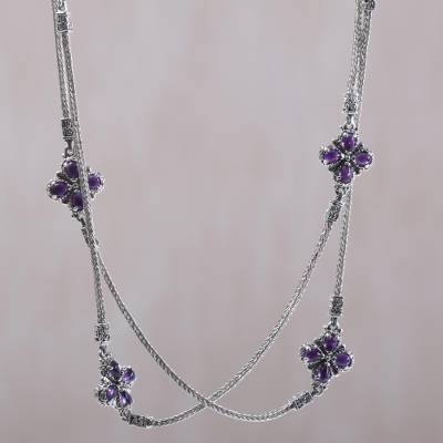 Amethyst long station necklace, Purple Primrose