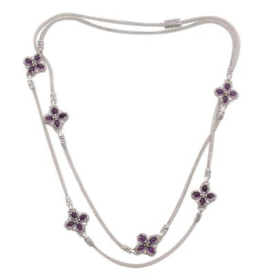 Amethyst and Sterling Silver Long Necklace from Bali