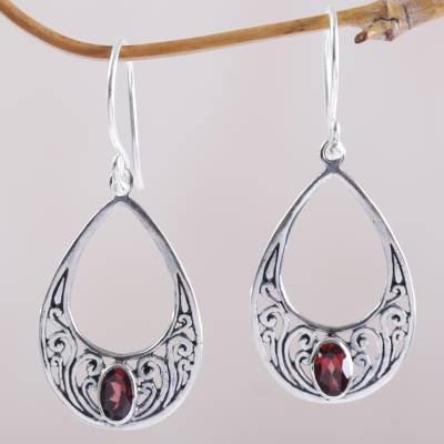 Garnet dangle earrings, 'Elegant Tears' - Garnet and 925 Silver Spiral Dangle Earrings from Bali