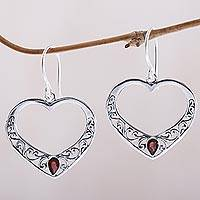 Garnet dangle earrings, 'Heart of Vines' - Garnet and Sterling Silver Heart Dangle Earrings from Bali