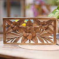 Wood relief panel, 'Frangipani Wall' - Hand Carved Suar Wood Floral Relief Panel by Bali Artisans