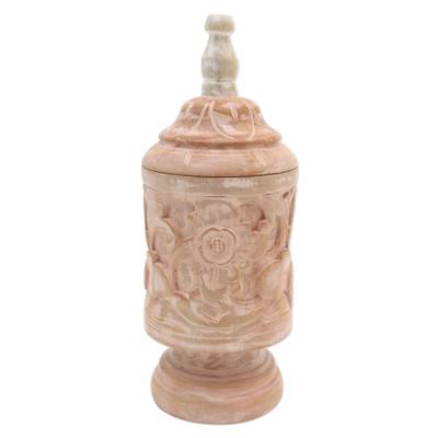 Mahogany Wood Cylindrical Decorative Jar with Floral Motifs