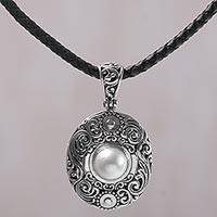 Cultured mabe pearl pendant necklace, 'Sanur Shield' - Cultured Mabe Pearl and Sterling Silver Necklace from Bali