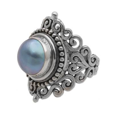Cultured mabe pearl cocktail ring, 'Dark Love Vines' - Dark 925 Silver Cultured Mabe Pearl Cocktail Ring from Bali