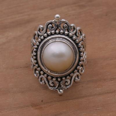 wide silver ring womens lace - Sterling Silver Cultured Mabe Pearl Cocktail Ring from Bali