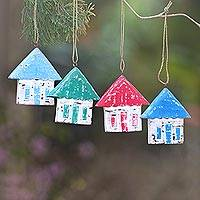 Wood ornaments, 'Festive Home' (set of 4) - Four Albesia Wood Distressed House Ornaments from Bali