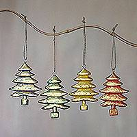 Wood ornaments, 'Golden Trees' (set of 4) - Four Gold Tone Albesia Wood Tree Ornaments from Bali