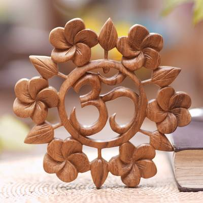 Wood relief panel, 'Soul at Peace' - Hand Carved Suar Wood Wall Relief Panel from Indonesia