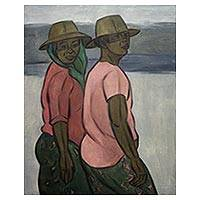 'Two Farmers' - Original Oil Painting of Two Javanese Farmer Woman