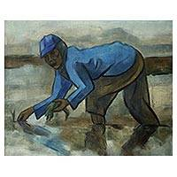 'Paddy Farming' (2012) - Blue and Brown Oil Painting of a Javanese Rice Farmer