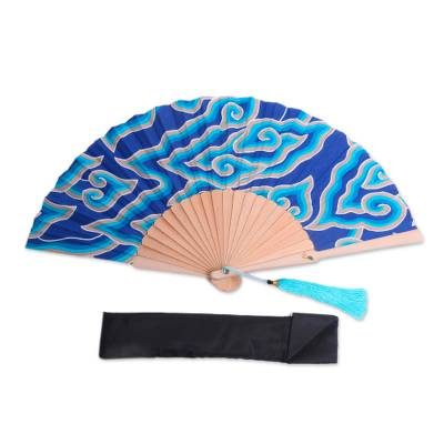 Batik Clouds Cotton Fan with Mahogany Handle from Bali