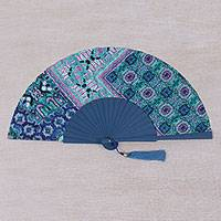 Batik silk fan, 'Peacock Winds' - Handcrafted Batik Silk and Mahogany Fan in Blue from Bali