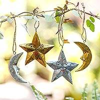Wood ornaments, 'Stellar Holiday' (set of 4) - Four Moon and Star Albesia Wood Ornaments from Bali