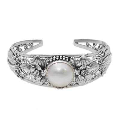 Floral Cultured Pearl Cuff Bracelet and 925 Silver from Bali