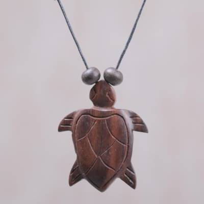 Wood pendant necklace, 'Bay Turtle' - Sono Wood Adjustable Turtle Pendant Necklace from Bali