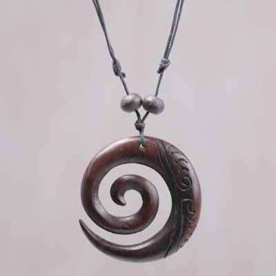 Wood pendant necklace, 'Enchanting Spiral' - Sono Wood Adjustable Spiral Pendant Necklace from Bali
