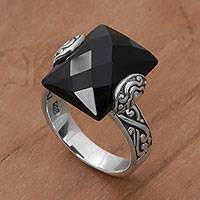 Onyx cocktail ring, 'Mysterious Rectangle' - Rectangle Onyx and Sterling Silver Cocktail Ring from Bali