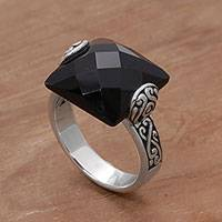 Onyx cocktail ring, 'Mysterious Square' - Square Onyx and Sterling Silver Cocktail Ring from Bali