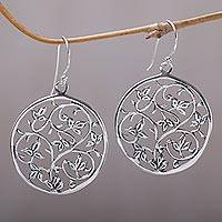 Sterling silver dangle earrings, 'Vine Rings' - Sterling Silver Vine Motif Dangle Earrings from Bali