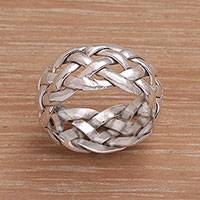 Sterling silver band ring, 'Celuk Braid' - Artisan Crafted Sterling Silver Woven Band Ring from Bali