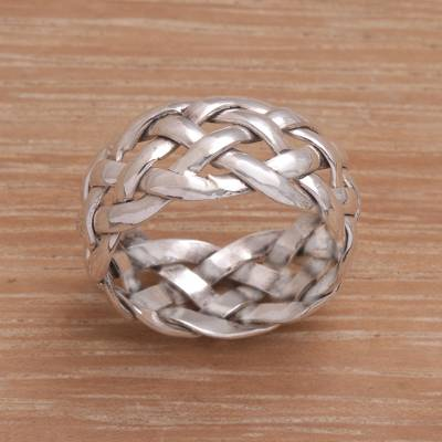Artisan Crafted Sterling Silver Woven Band Ring from Bali