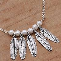 Cultured pearl necklace, 'Angel Feathers' - Hand Crafted Sterling Silver and Cultured Pearl Necklace