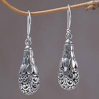 Sterling silver dangle earrings, 'Spiral Fruit' - Sterling Silver Spiral Motif Dangle Earrings from Bali