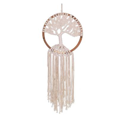 Cotton wall hanging, 'Growing Tree' - Hand Woven Cotton and Bamboo Tree Wall Hanging from Java