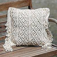 Cotton cushion cover, 'Bali Weave' - Hand Woven Ecru Cotton Cushion Cover with Fringe
