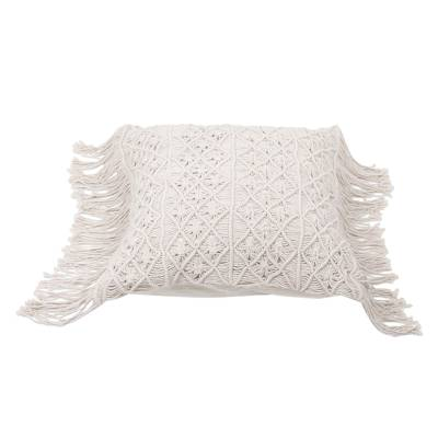 Cotton cushion cover, 'Large Bali Weave' - Handwoven Cotton Cushion Cover in Ecru from Bali