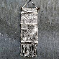 Cotton wall hanging 'Aermata Scroll' - Handmade 100% Cotton and Bamboo Wall Hanging from Indonesia