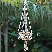 Cotton hanging planter, 'Saroka Shine' - Hand Woven 100% Cotton Hanging Planter from Indonesia