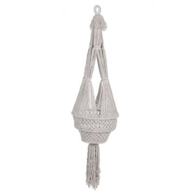 Cotton hanging planter, 'Madura Dance' - Hand Woven 100% Cotton Hanging Planter from Indonesia