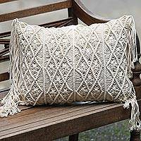 Cotton cushion cover, 'Small Bali Weave' - Small Handwoven Cotton Cushion Cover in Ecru from Bali