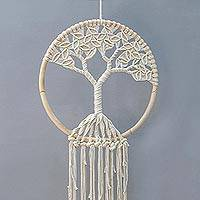 Cotton wall hanging, 'Serene Tree' - Hand Woven All Cotton and Bamboo Ring Wall Hanging from Java