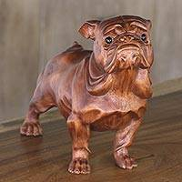 Wood and onyx sculpture, 'Begging Bulldog' - Suar Wood and Onyx Sculpture of a Bulldog by Bali Artisans