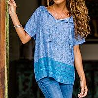 Rayon blouse, 'Ocean Dreams' - Handmade Blue Rayon Tunic Blouse from Indonesia